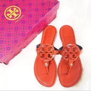 {Tory Burch} Orange Patent Miller Sandals